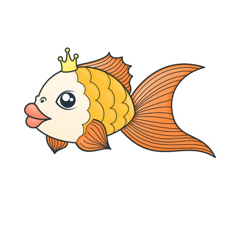 inhaling: gold fish in cartoon style on white background Illustration