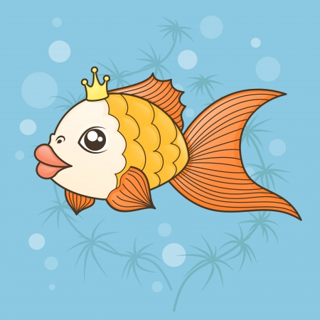 goldfish in a cartoon style on a background of water and algae Vector