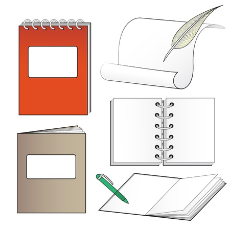 set of sheets, rolls, paper, books and notebooks to insert your text Vector