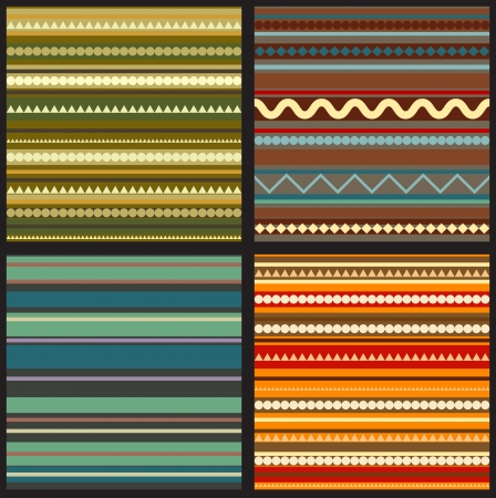 mexican culture: set of seamless geometric patterns in ethnic style