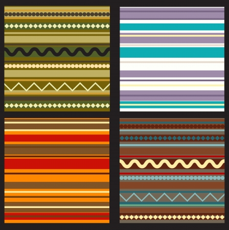 set of seamless geometric patterns in ethnic style Vector