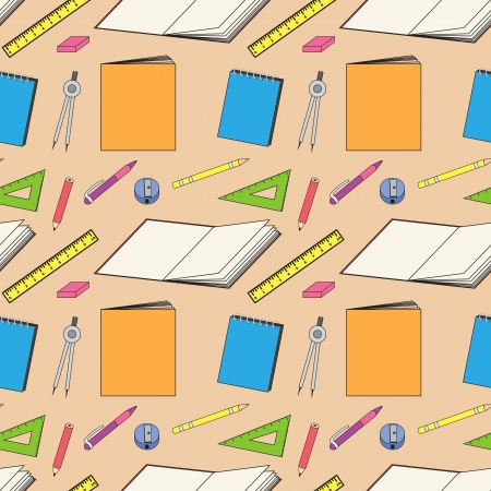pattern with school and office stationery, notebooks Vector