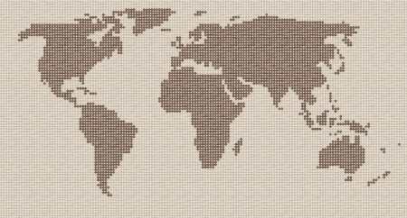 contour map of the world of dots on a brown background in old style Vector