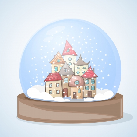 architectural drawing: snow globe with a town covered with snow for Christmas