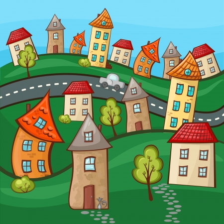 modern house sketch: Suburbs and houses on background of the nature and hills