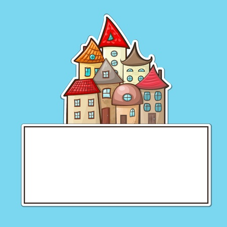 hand-drawn cartoon house icon with a sign for text Vector