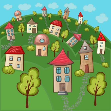 Suburbs and houses on background of the nature and hills Vector