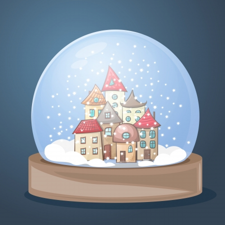 snow globe with a town covered with snow for Christmas Vector