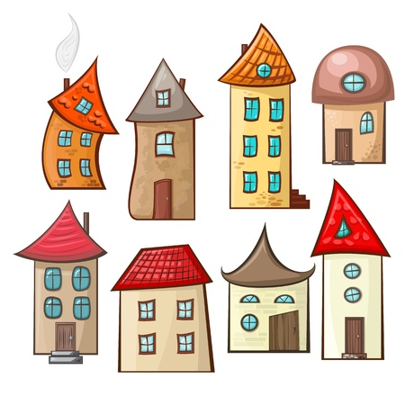 a set of hand-drawn cartoon houses in different styles Vector