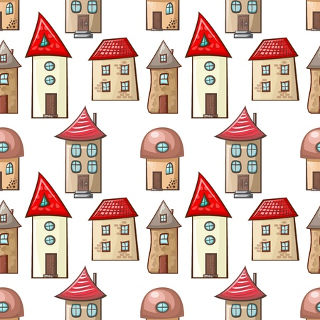 seamless pattern with hand-drawn cartoon house Vector