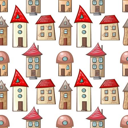 cartoon house: seamless pattern with hand-drawn cartoon house