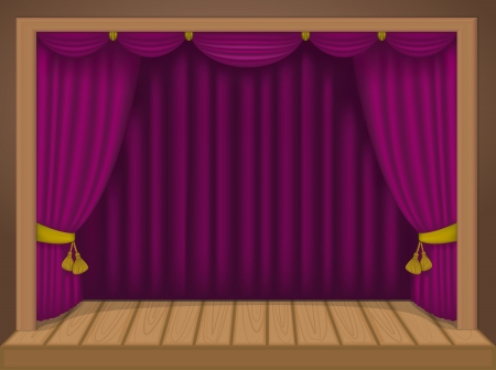 playhouse: theater scene with rich draperies, curtains, wooden floor