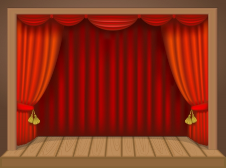 theater scene with rich draperies, curtains, wooden floor