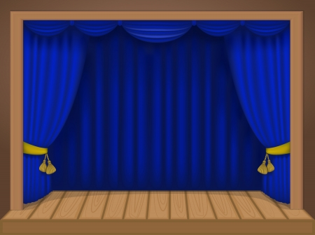 theater scene with rich draperies, curtains, wooden floor Stock Vector - 20830299