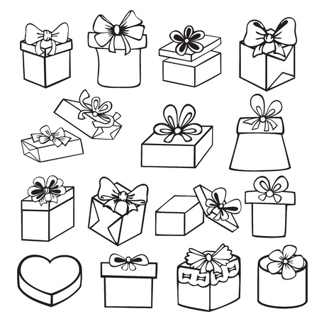 set of painted black and white gift boxes with bow, ribbon, contours