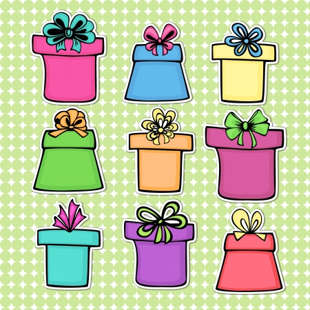 set of colorful gift boxes with bow, ribbon in a drawing cartoon style