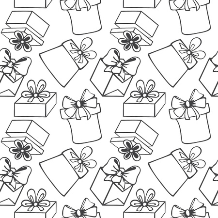 Seamless pattern of painted black and white gift boxes with bow, ribbon, contours