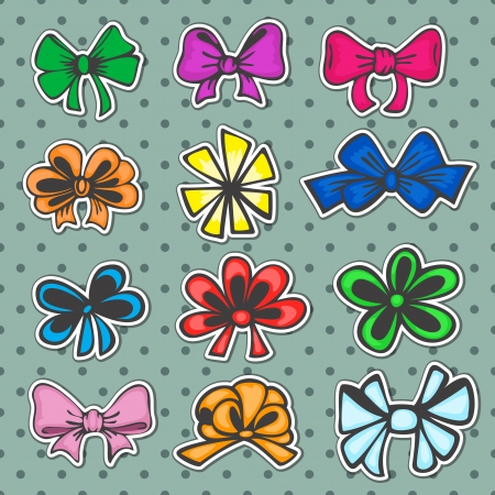 tied up: set of colored ribbons, bows for gift in retro style Illustration