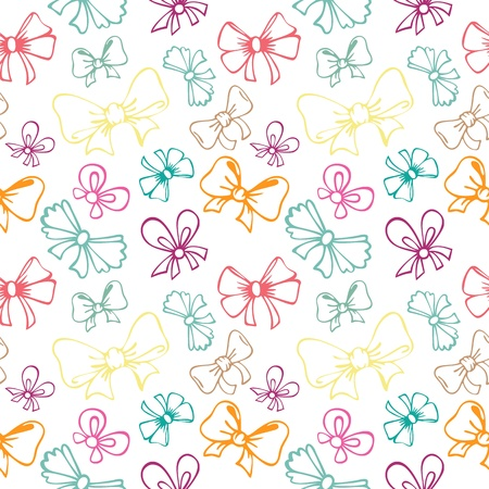 seamless pattern with contour gift bow, ribbon Ilustracja