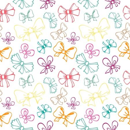 seamless pattern with contour gift bow, ribbon Ilustração