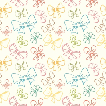 seamless pattern with contour gift bow, ribbon in retro style