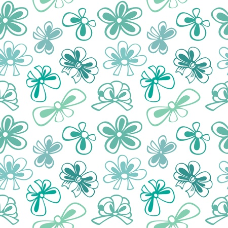 seamless pattern with contour gift bow, ribbon Illustration