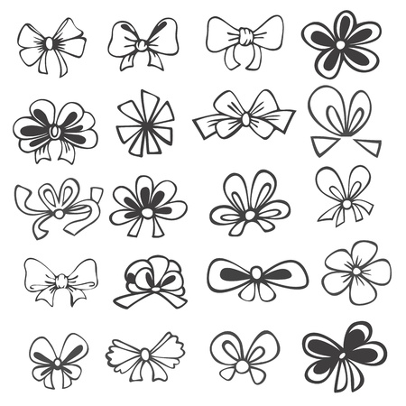 set of black and white contours ribbons, bows for gift