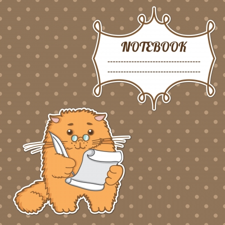 notebook cover: cover notebook with a frame for a name and a kitten writer with a pen and paper Illustration