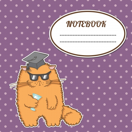 cover notebook with a frame for a name and a graduate of funny cat with glasses, celebrating with a cocktail Vector