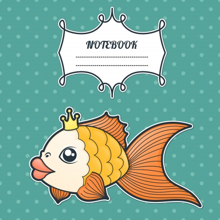 cover notebook with a frame for a name and a goldfish on a retro background Vector