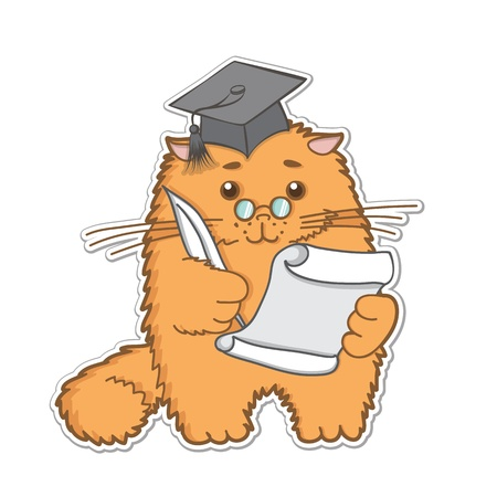 funny cartoon cat is a graduate student with pen and paper Vector