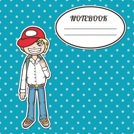 cover notebook with a frame for a name and a smiling boy student with a backpack