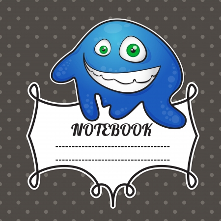 notebook cover: cover notebook with a frame for a name and a funny smiley monster