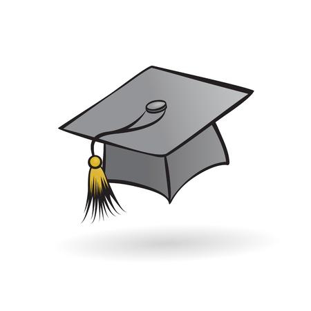 chapeau étudiant diplômé dans un style peint sur un fond blanc