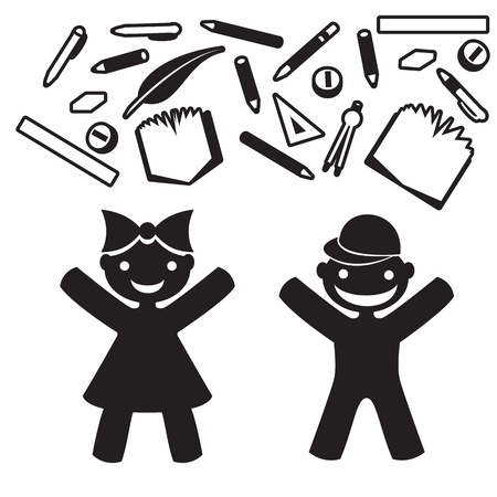 silhouette, stencil boy and girl happy with stationery, school Vector