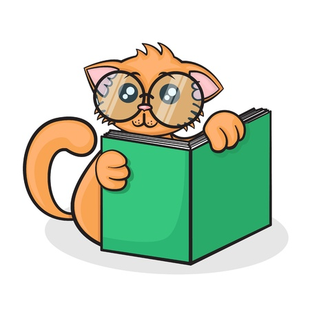 little funny cartoon cat with big glasses reads the book on a white background