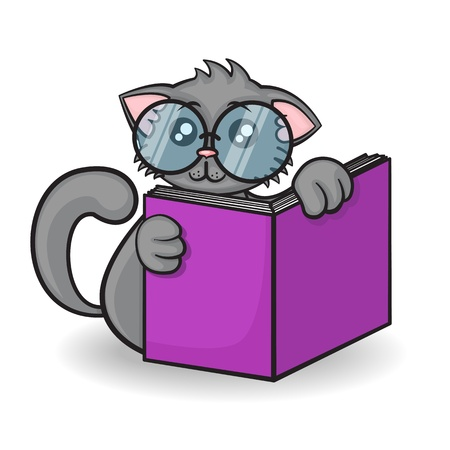 little funny cartoon cat with big glasses reads the book on a white background Vector