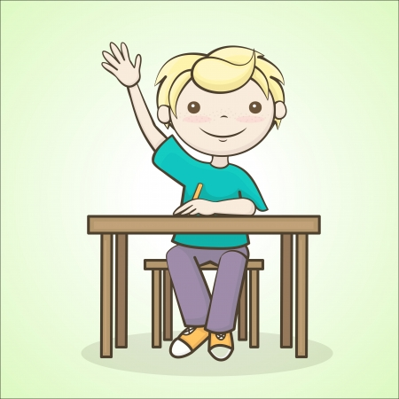 the boy answers the question, a student raised his hand, sitting at the table Illustration