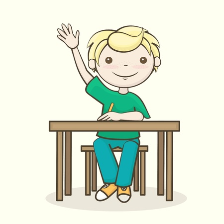 the boy answers the question, a student raised his hand, sitting at the table Vector