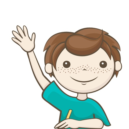 the boy answers the question, a student raised his hand Stock Vector - 21423776