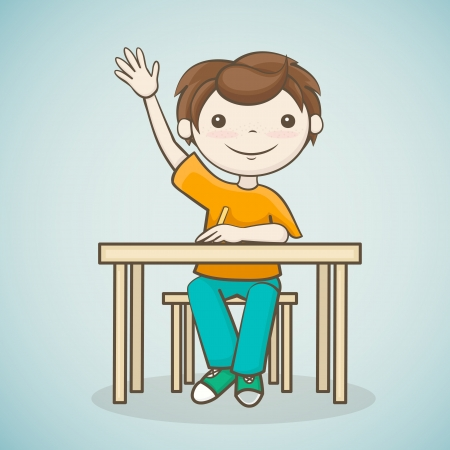 the boy answers the question, a student raised his hand, sitting at the table Stock Vector - 21423783