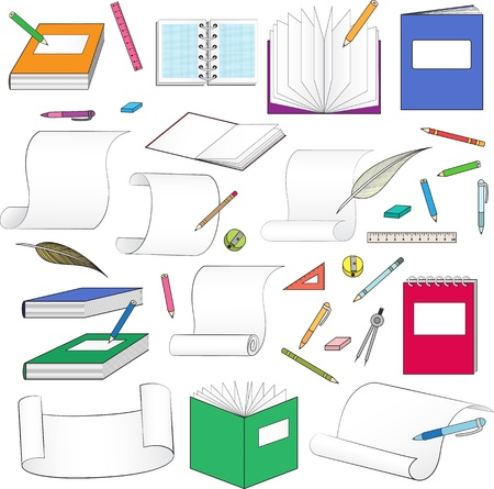 large set of stationery for school, office, paper and scrolls Illustration