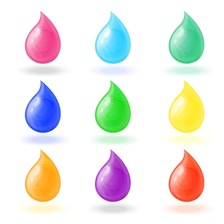 set realistic colorful shiny drops on a white background