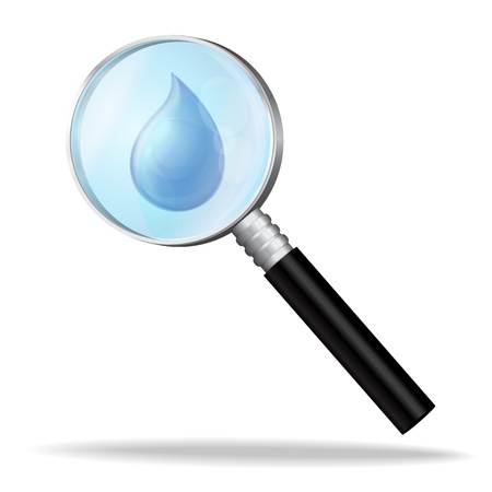 Magnifier enlarges a drop of water, the study of water