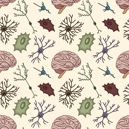ニューロンと脳科学的背景のシームレスなパターン  イラスト・ベクター素材