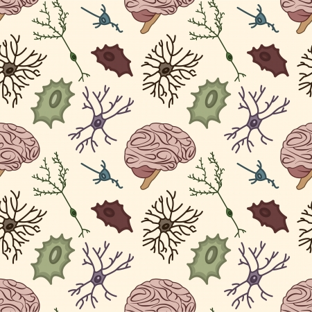nerve cells: seamless pattern of the neurons and the brain, Scientific background Illustration