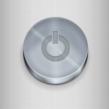 realistic metal on  off button for the interface