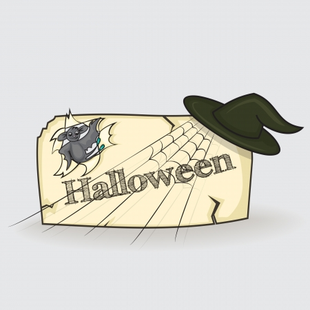banner cartoon style for Halloween spider, broom, hat and bat Vector