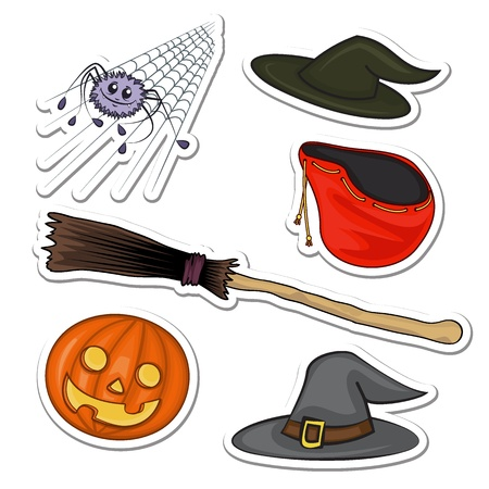 Set in a cartoon style for Halloween spider, broom, bag, hat and pumpkin
