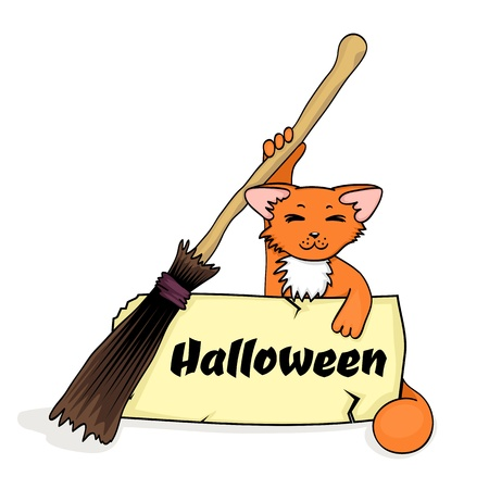 halloween banner with cat and broom and old paper